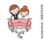 just married couple car... | Shutterstock .eps vector #488155246