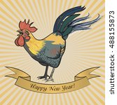 Rooster Postcard Happy New Yea...