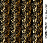 golden vintage seamless pattern ... | Shutterstock .eps vector #488162050
