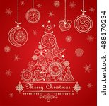 vintage greeting christmas red... | Shutterstock . vector #488170234