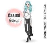 cute fashion cartoon girl....   Shutterstock .eps vector #488174068