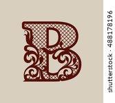 initial letter b. carved... | Shutterstock .eps vector #488178196