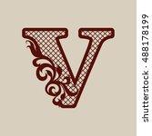 initial letter v. carved... | Shutterstock .eps vector #488178199