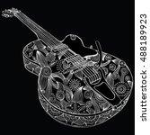 stylized guitar. retro guitar.... | Shutterstock .eps vector #488189923