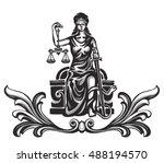femida   lady justice   graphic ... | Shutterstock .eps vector #488194570
