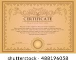 certificate or coupon template... | Shutterstock .eps vector #488196058
