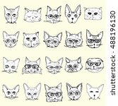 collection of cats. portraits...   Shutterstock .eps vector #488196130