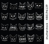 Stock vector collection of cats portraits of cats stylized cats head set line art black and white drawing 488196139
