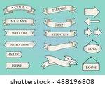 blue ribbon banners set.... | Shutterstock .eps vector #488196808