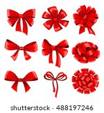 big collection of red gift bows ... | Shutterstock .eps vector #488197246