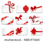 set of beautiful cards with red ... | Shutterstock .eps vector #488197600