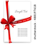 greeting card with a red ribbon.... | Shutterstock .eps vector #488197618