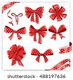 set of red polka dot gift bows... | Shutterstock .eps vector #488197636