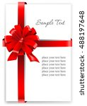 greeting card with a red ribbon.... | Shutterstock .eps vector #488197648