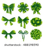 set of green gift bows with... | Shutterstock .eps vector #488198590