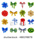 set of gift bows with ribbons.... | Shutterstock .eps vector #488198878