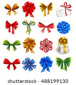 set of gift bows with ribbons.... | Shutterstock .eps vector #488199130