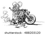 hand drawing of mouse riding... | Shutterstock .eps vector #488203120