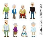various senior adult set | Shutterstock .eps vector #488220586