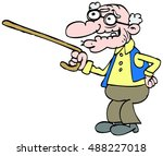 old man with a walking stick   Shutterstock .eps vector #488227018
