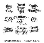 set of sports lettering quote.... | Shutterstock .eps vector #488245378