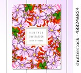invitation with floral...   Shutterstock .eps vector #488246824