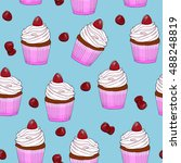 seamless pattern cupcakes with... | Shutterstock .eps vector #488248819
