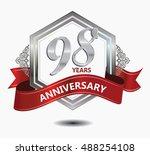 98 years anniversary hexagonal... | Shutterstock .eps vector #488254108