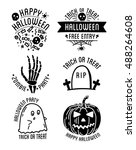 set of halloween stylish logos... | Shutterstock .eps vector #488264608