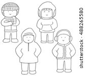 vector set of people in winter... | Shutterstock .eps vector #488265580