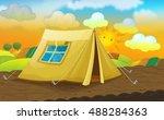 cartoon nature scene with... | Shutterstock . vector #488284363