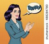 pop art woman applauding with...   Shutterstock . vector #488284780