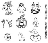 monochrome set of halloween... | Shutterstock .eps vector #488288398