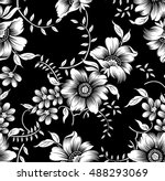 Stock vector black white flowers 488293069
