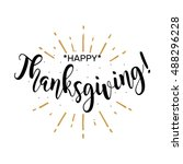happy thanksgiving. beautiful... | Shutterstock .eps vector #488296228