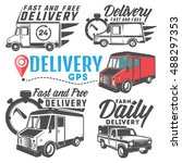 set of post truck for emblems... | Shutterstock .eps vector #488297353