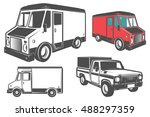 set of post truck for emblems...   Shutterstock .eps vector #488297359