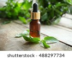bottle with mint oil and fresh... | Shutterstock . vector #488297734