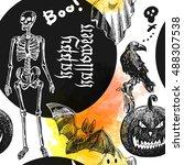 happy halloween. hand drawn... | Shutterstock .eps vector #488307538