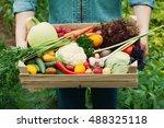 Farmer Holding A Basket Full O...
