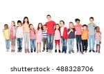 large group of children posing... | Shutterstock . vector #488328706