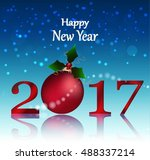 happy new year hanging baubles... | Shutterstock .eps vector #488337214