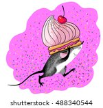 cartoon funny mouse carrying a... | Shutterstock .eps vector #488340544