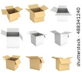 open box set. 3d render... | Shutterstock . vector #488341240
