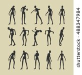 posing zombie silhouettes set.... | Shutterstock .eps vector #488347984