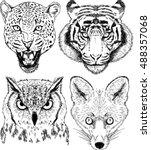 vector drawings of wild animal... | Shutterstock .eps vector #488357068