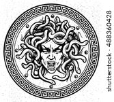 Medusa Shield Vector Emblem.