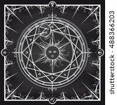 white occult hermetic circle... | Shutterstock .eps vector #488366203