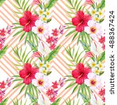 watercolor tropical pattern ... | Shutterstock . vector #488367424