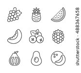 basic fruits thin line icons... | Shutterstock .eps vector #488367658